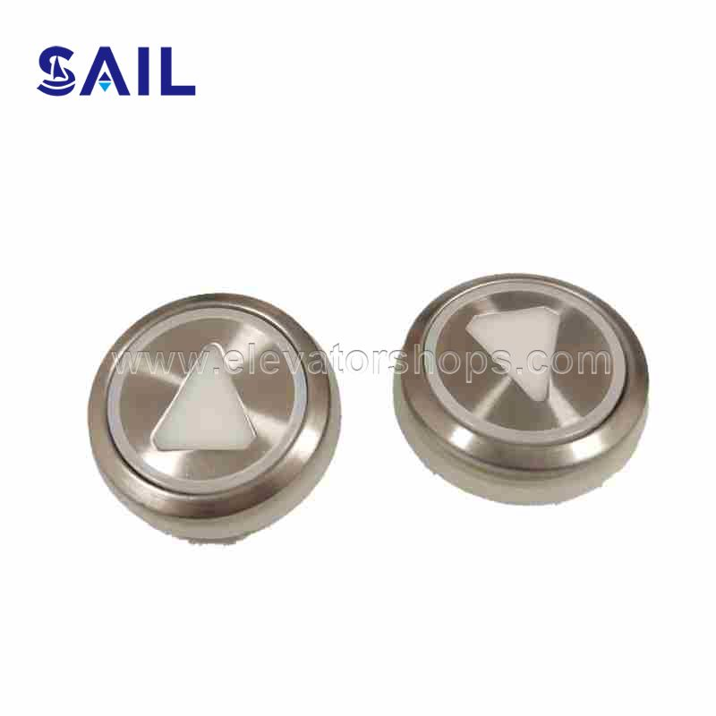 KONE Elevator Stainless Steel Round Button 863223H03 AUDBUT_UP/853343H02 AUDBUT (G01-G06), Red Light
