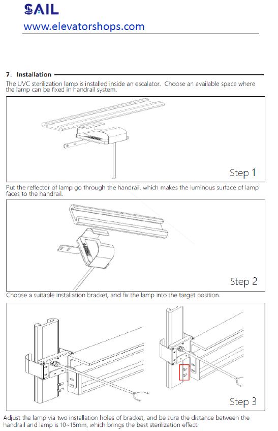 Kone Escalator UVC LED UV-C Sterilization Lamp Disinfection Lamp